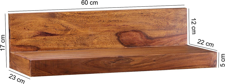 WOHNLING Wandregal Massiv-Holz Sheesham Holzregal 60 cm breit Landhaus-Stil Hönge-Regal Echt-Holz Wand-Board Natur-Produkt Wandkonsole dunkel-braun Brett unbehandelt Regale zum Aufhöngen Unikat Ablage WL1.572