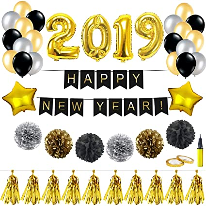 new year balloons kit decorations 32 inch 2019 foil balloon happy new year banner tassel