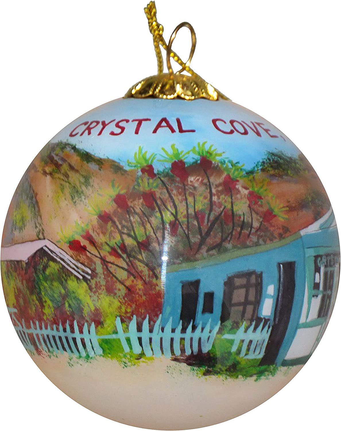 Art Studio Company Hand Painted Glass Christmas Ornament - Beach Cottages in Crystal Cove, CA