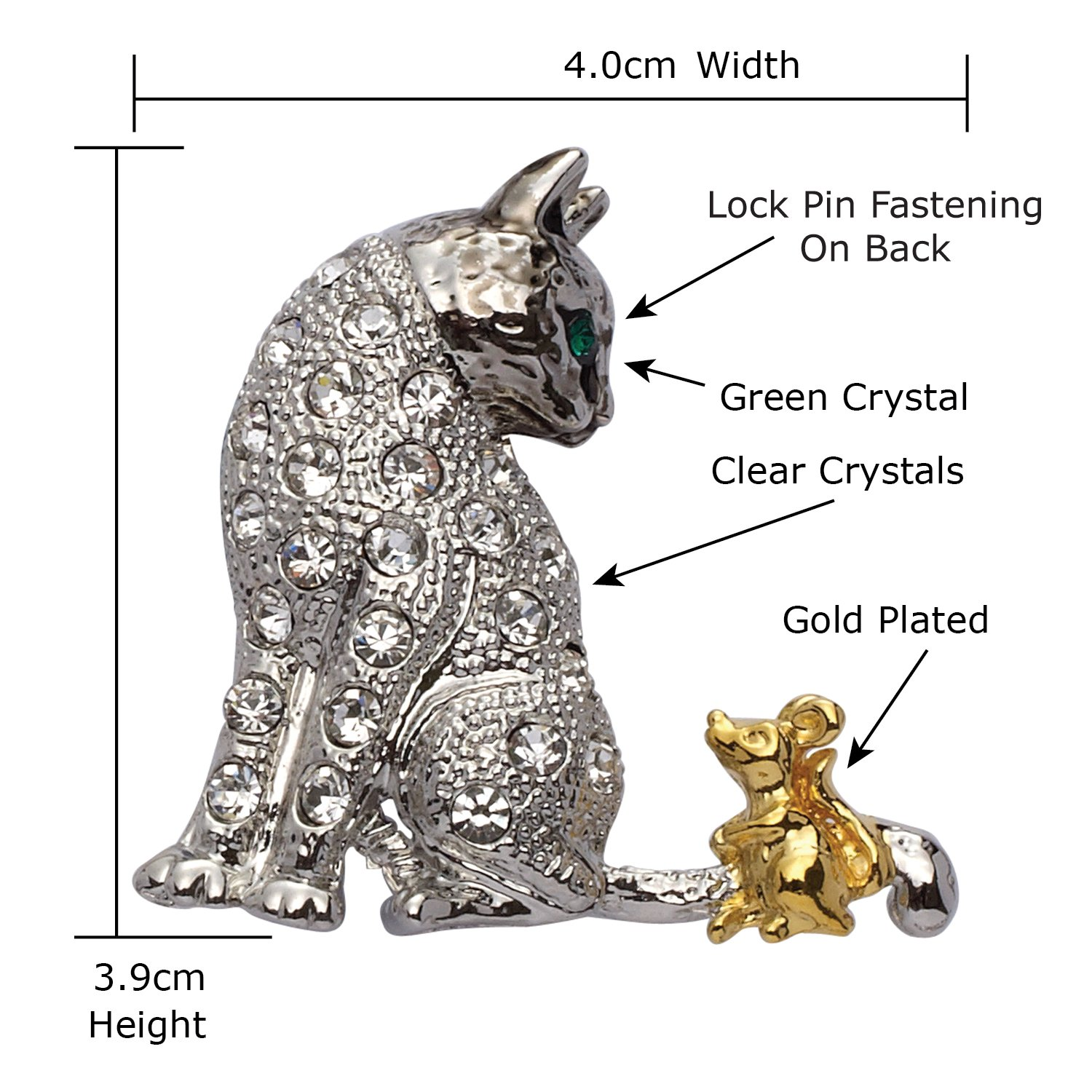 Jodie Rose Clear Crystal Cat and Mouse Brooch 3ln0hq
