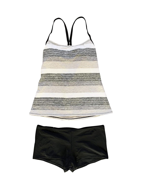 Black Grey, White Stripe Nike Women's Tankini Athletic TwoPiece Swimsuit