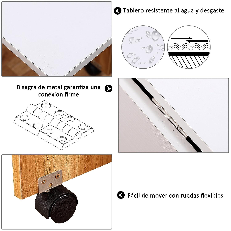 Homcom Mesa Plegable con Ruedas Estante Multifuncional para Comedor Salón 3 Formas Mesa Auxiliar Mesa Auxiliar Blanco y Madera: Amazon.es: Hogar