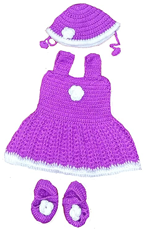 74a72b3fc53b BabyBlossom Baby Girl s Hand Made Party Wear Woolen Frock with Cap ...