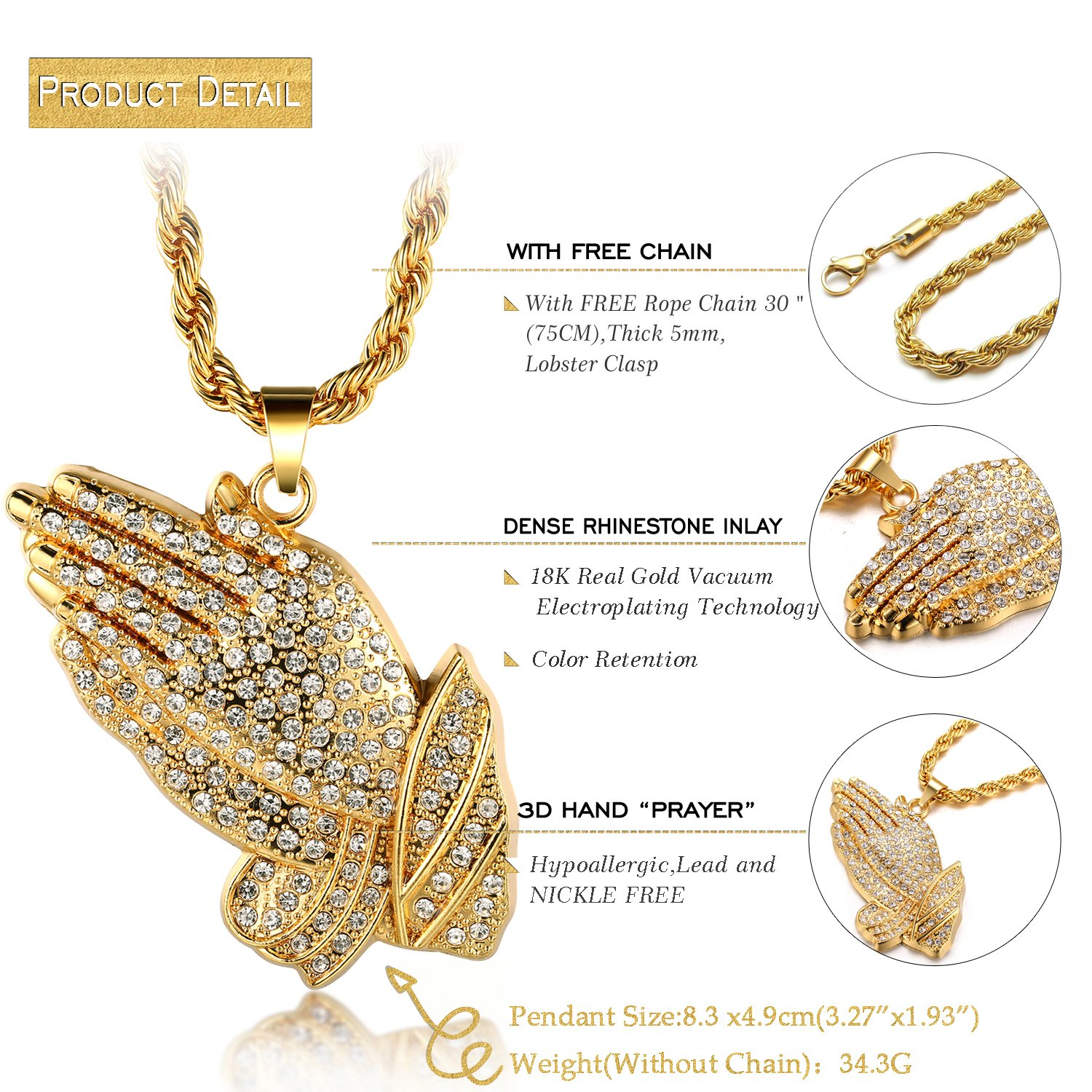 universal products gold box yellow chain real solid necklace jewels