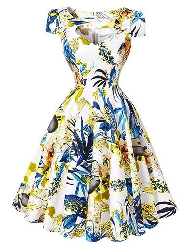 Belle Poque Women Hollowed Vintage Cocktail Swing Dresses Short Sleeve