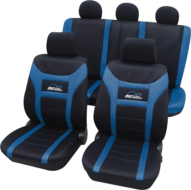 Schwarz-blau Effekt 3D Sitzbezüge für VW VOLKSWAGEN FOX Autositzbezug VORNE