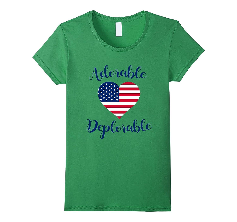 Adorable Deplorable T-Shirt – USA Flag Heart Pride