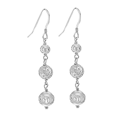 Tuscany Silver Women's Sterling Silver Ethnic Bead Dangle and Drop Earrings of 7 x 61 mm 8.54.3649 hXmHWL1E