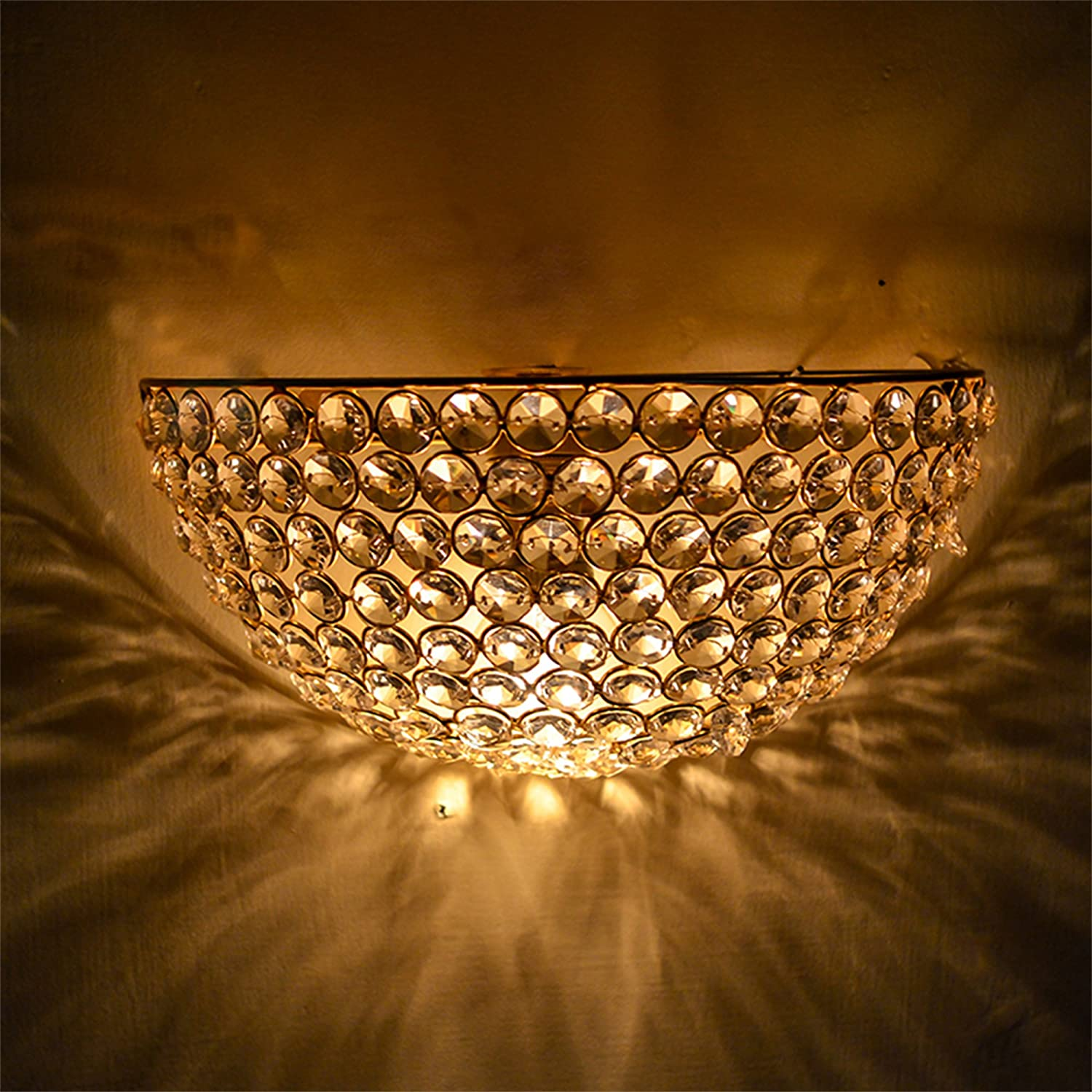 Homesake Crystal Round Wall Sconce Lamp, Decorative Door Light,Gold and Crystal
