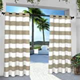 Exclusive Home Curtains Indoor/Outdoor Stripe Cabana Grommet Top Window Curtain Panel Pair, Taupe, 54x84