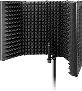 Aokeo Studio Recording Microphone Isolation Shield, Pop Filter. High density absorbent foam is used to filter vocal. Suitable for blue yeti and any condenser microphone recording equipment (AO-505)