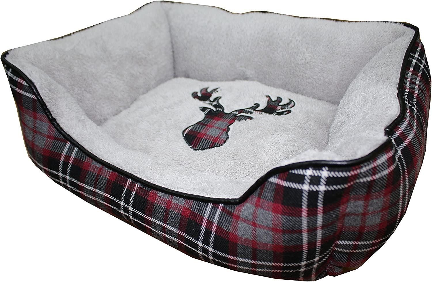 PETSPACES Holiday Plaid Rectangle Cuddler 25 X21