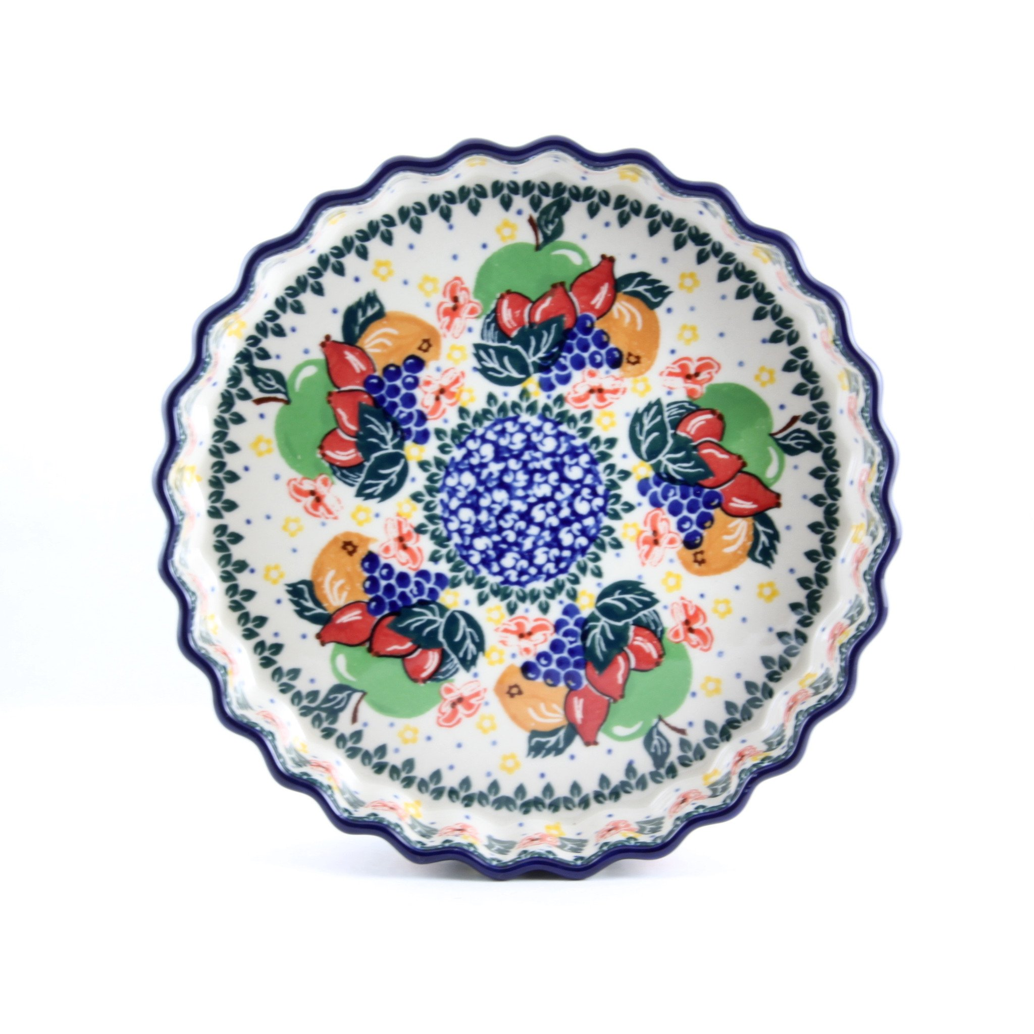 Ceramika Artystyczna Handmade Ceramic Fluted Quiche Dish Polish Pottery Hand Painted Unikat Design