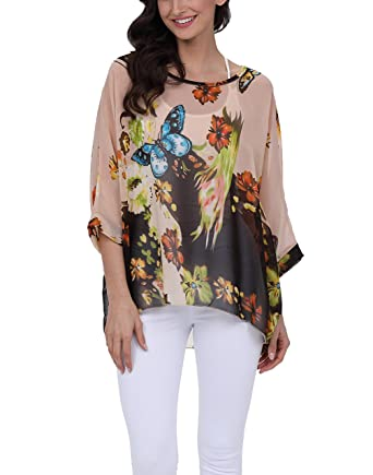 e61df487c57a3 Nicetage Bohemian Floral Chiffon Blouse Casual Batwing Blouse Hippie Semi  Sheer Loose Tops 4290  Amazon.co.uk  Clothing