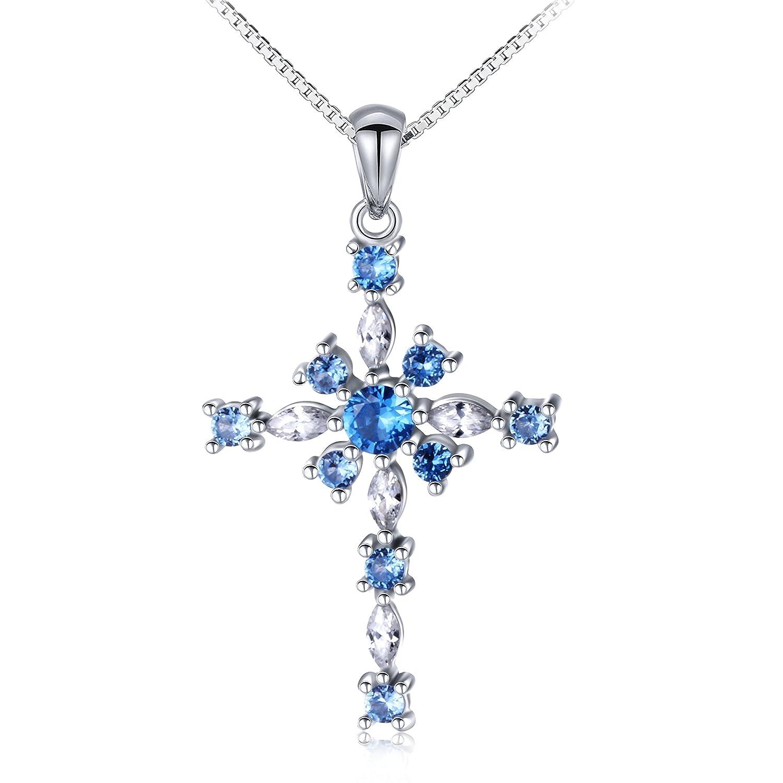 Amazon.com  JZMSJF CZ Cross Necklace S925 Sterling Silver Love Hope Faith Cross  Pendant Necklace for Women Girls 289e1a7d5e38