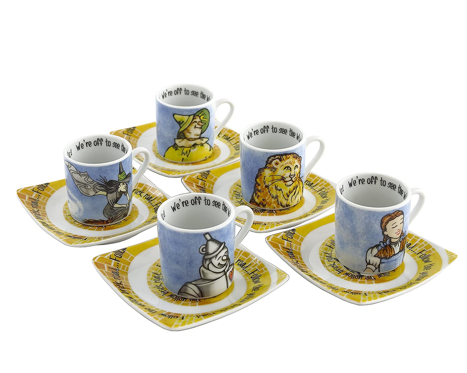 Multicolor WOZ101 Cardew Design Wizard of Oz Tea Party Cup /& Saucer 3 oz Set of 5