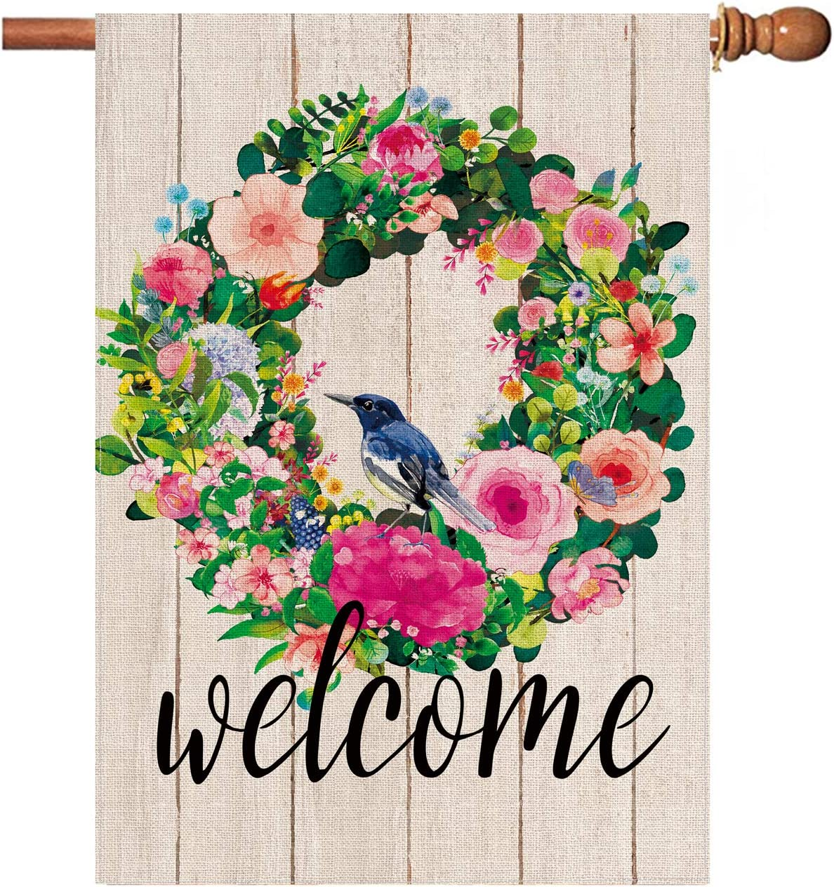 Hexagram Welcome Flower Wreath Spring Flags 28 x 40 Double Sided,Decorative Yard Burlap House Flag,Vertical Outdoor Spring and Summer Decoration Sign, Farmhouse Large Garden Flag