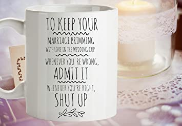 funny marriage advice mug humorous wedding gift funny shower gift from wife gift for husband ogden