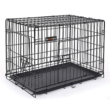 FEANDREA Jaula metálica para Perros Transportín Plegable para Mascotas Negro L 75 x 47 x 54 cm PPD30H: Amazon.es: Productos para mascotas