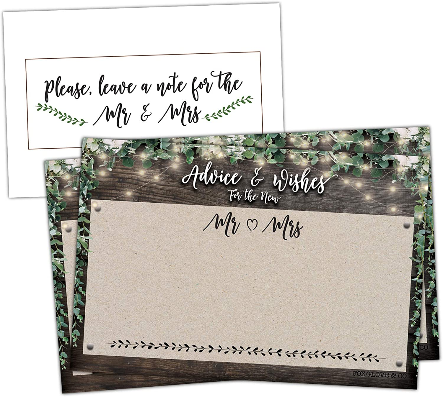 Rustic Wedding Advice Cards For Bride /& Groom Wishes Wedding Reception 20 Guests