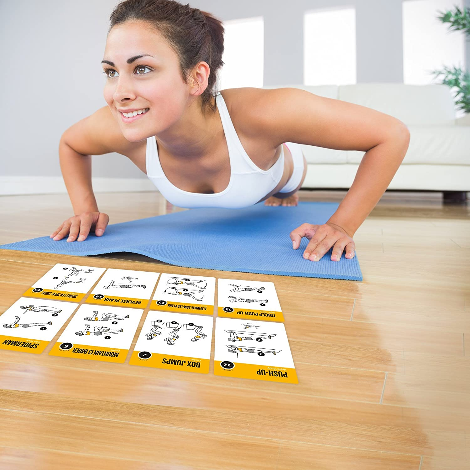 Home Gym Workout Personal Trainer Fitness Program Guide Tones Core Ab Legs Glutes Chest Biceps Total Upper Body Workouts Calisthenics Training Routine NewMe Fitness Exercise Cards BODYWEIGHT
