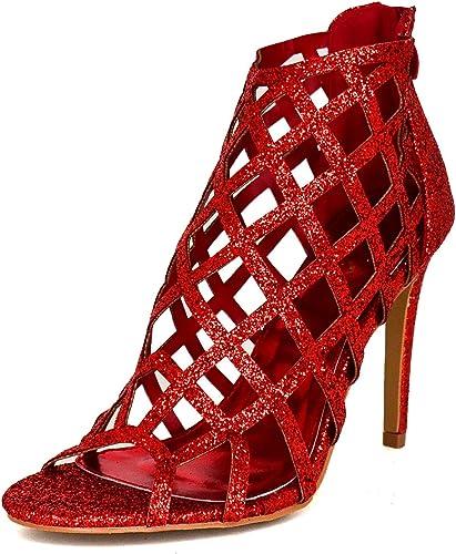 Ladies Glitter Caged Sandals, Heeled
