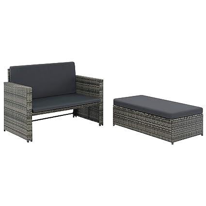 Amazoncom Vidaxl Garden Sofa Set 5 Piece Poly Rattan Wicker Gray