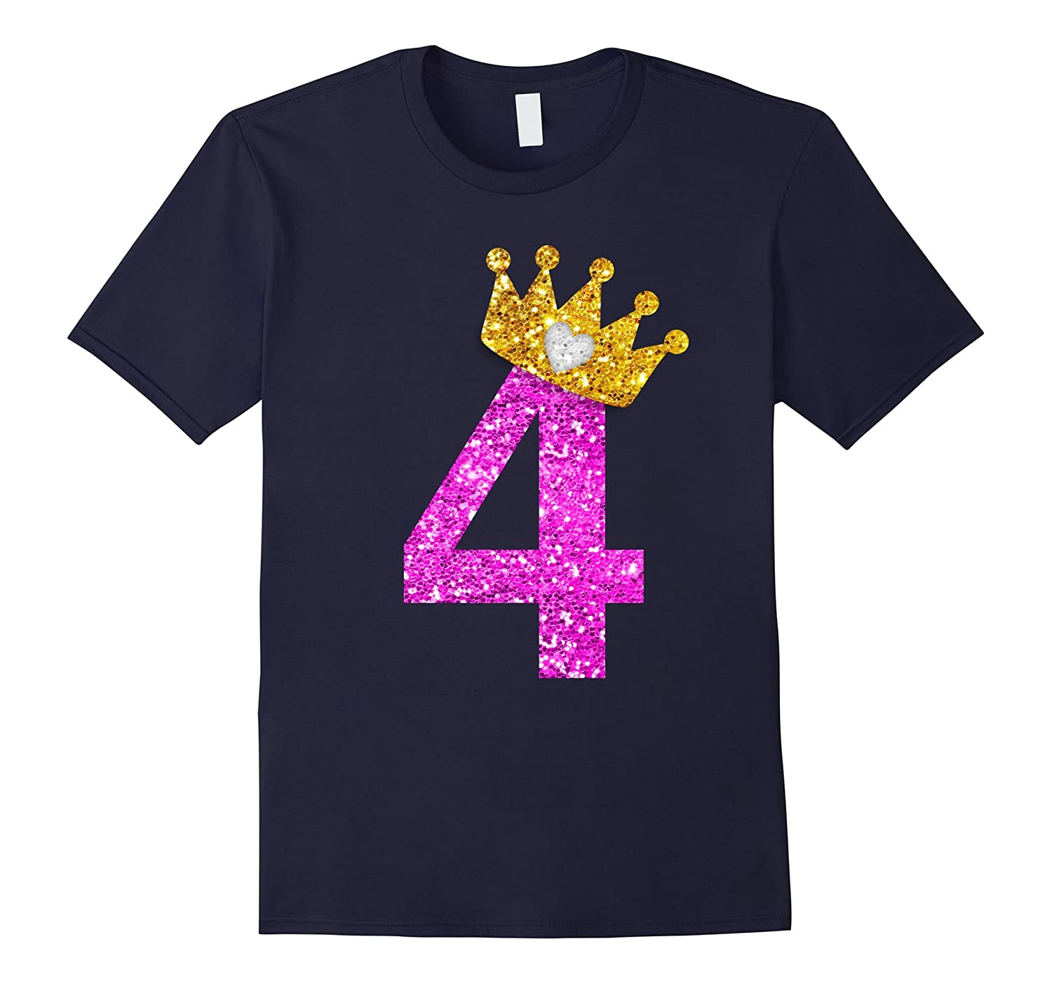 4th Birthday Girl Shirt Princess Crown Pink-FL