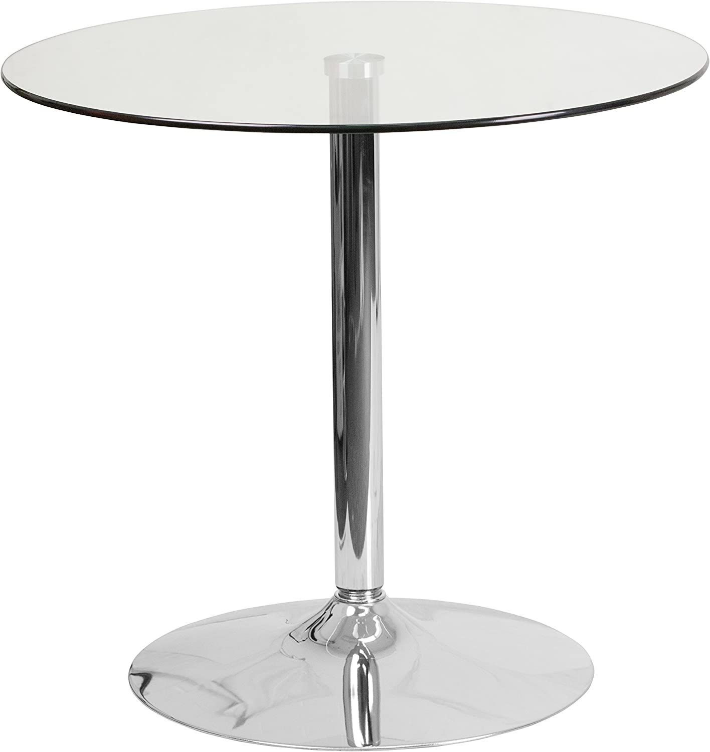 Amazon Com Flash Furniture 31 5 Round Glass Table With 29 H Chrome Base Tables