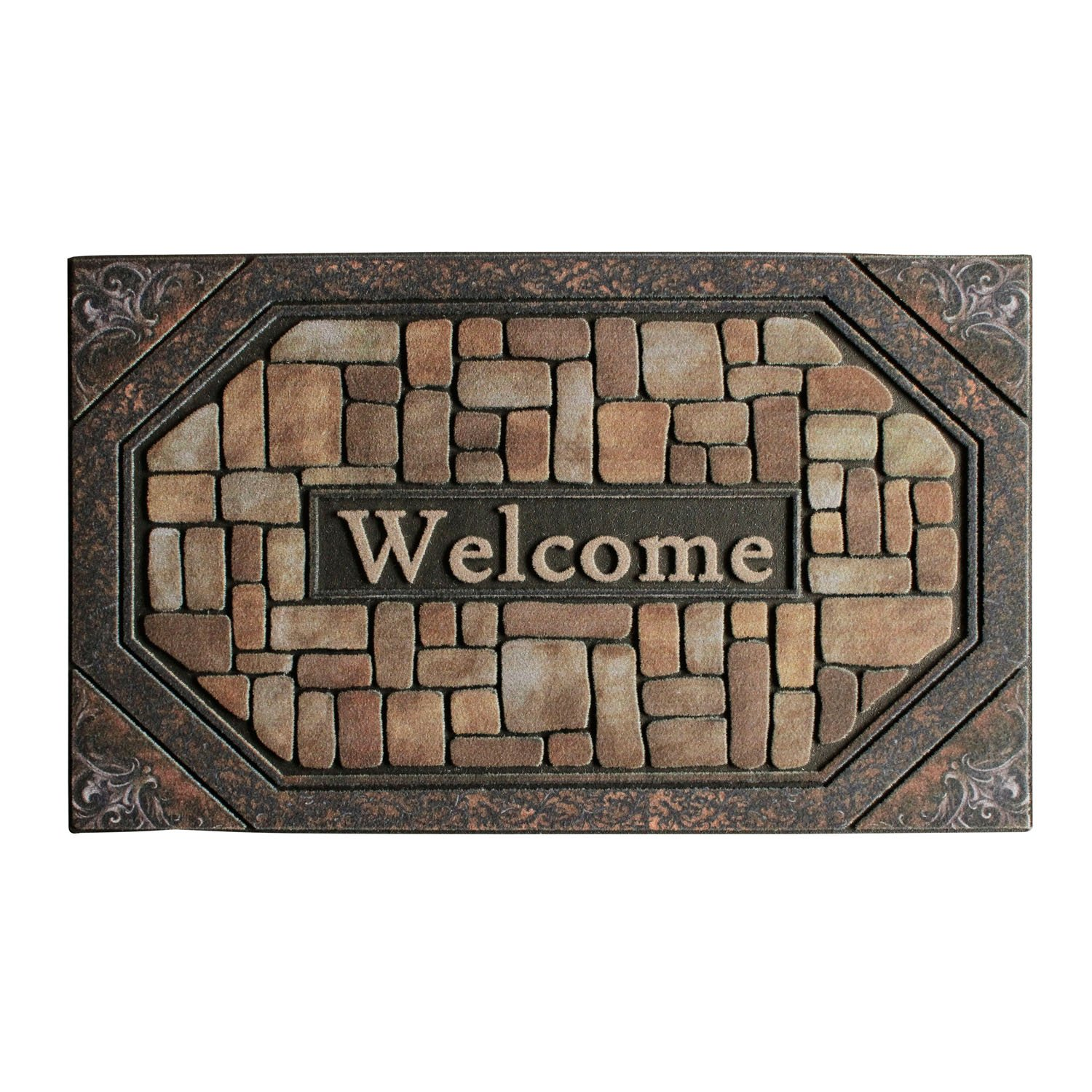 Front Door Mat Entrance Rug Floor Mats, Waterproof Floor Mat Shoes Scraper Doormat, 18''x30'' Patio Rug Dirt Debris Mud Trapper Outdoor Welcome Door Mat Carpet (Welcome)