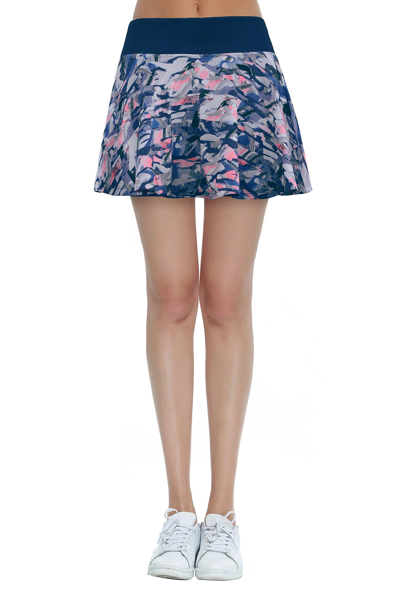 Cityoung Women Running Golf Skort Plus Size Pocket Girl Athletic Tennis Skirt Shorts Underneath s Navy