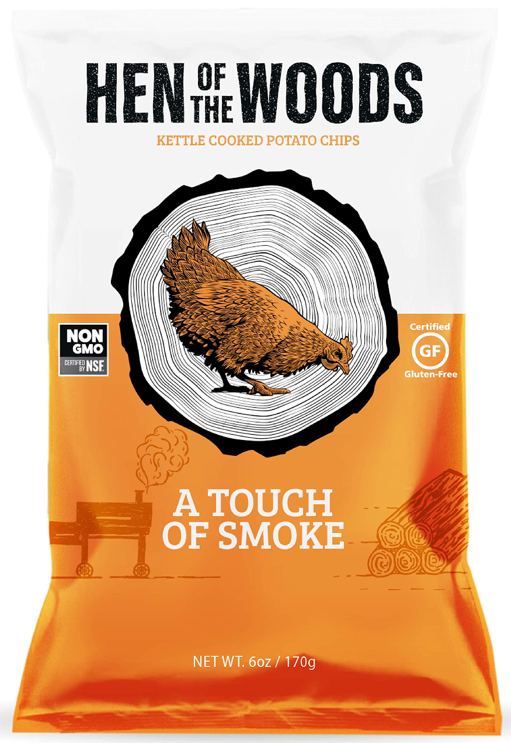 Hen of the Woods Kettle Chips | A Touch of Smoke~ 6oz (8 Count) | Healthy Snacks, Potato Chips, Non GMO, Gluten Free, Grain Free by Hen of the Woods