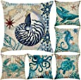 """6 Pack Cotton Linen Sea Theme Throw Pillow Case,Mediterranean Style Decorative Square Cushion Cover 18"""" x 18""""(Cover Only,No Insert) (Sea Theme 1)"""