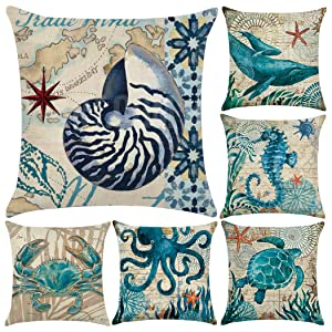 "6 Pack Polyester Sea Theme Throw Pillow Case,Mediterranean Style Decorative Square Cushion Cover 18"" x 18""(Cover Only,No Insert) (Sea Theme 1)"