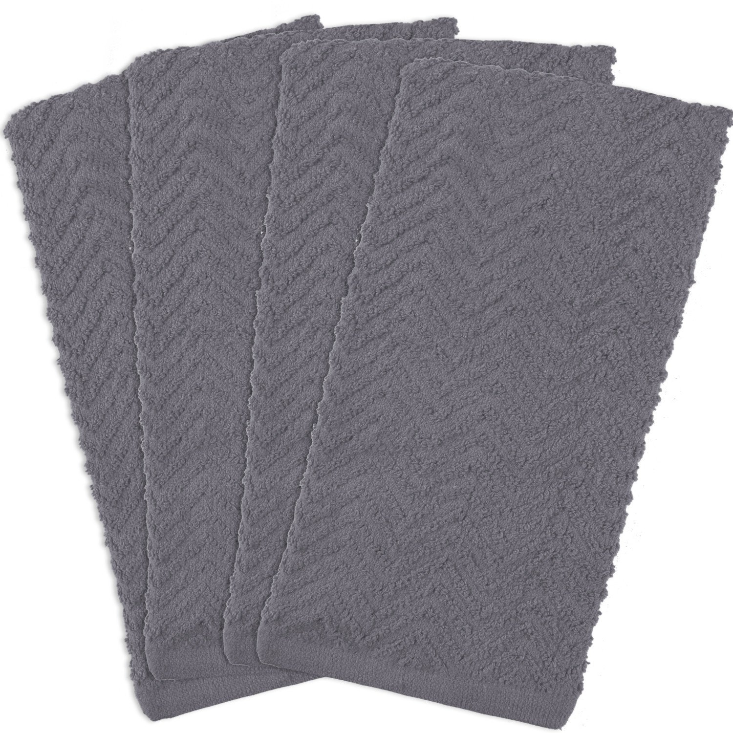 DII Cotton Zig Zag Weave Dish Towels, 16 x 28 Set of 4, Heavy Duty Kitchen Bar Mop for Drying & Cleaning-Gray