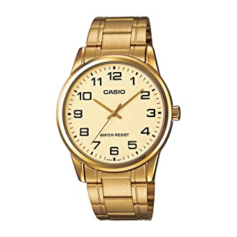 1fadd6b6f5f Image Unavailable. Image not available for. Color  Casio  MTP-V001G-9B Men s  Standard Gold Tone Stainless Steel Easy Reader Watch