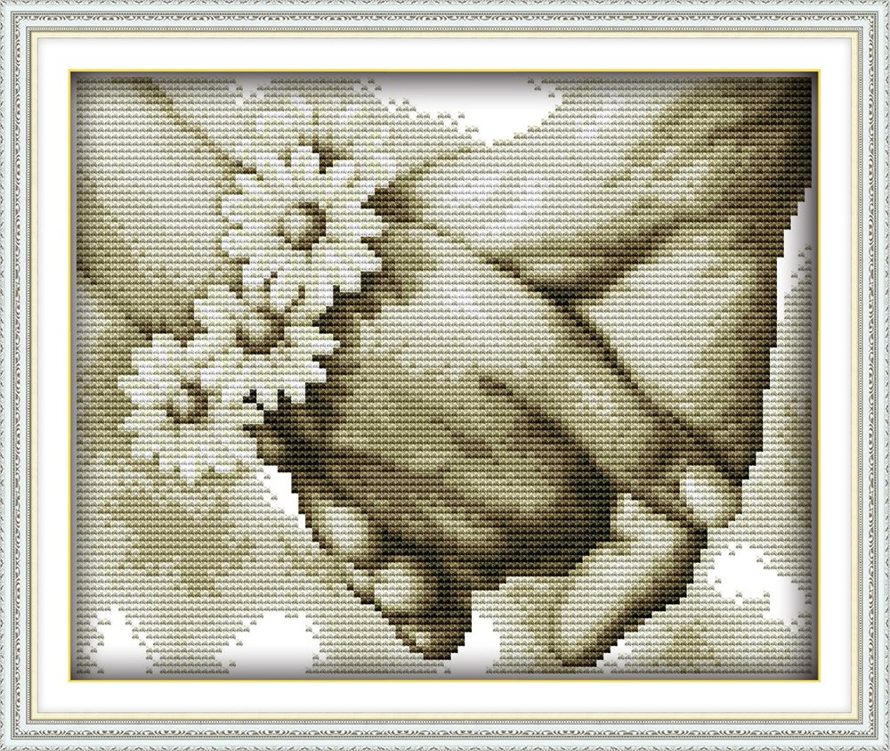 "Joy Sunday Stamped Cross Stitch Starter Kits Beginners Cross-Stitching Accurate Pre-printed Pattern - Hand in hand 11CT 13""X10"", Frameless (Printed Pattern Model R891) Chuang Jia"