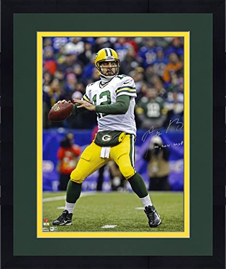 Framed Aaron Rodgers Green Bay Packers Autographed 16 quot  x 20 quot   White Vertical Passing Photograph 9d35dc8b6