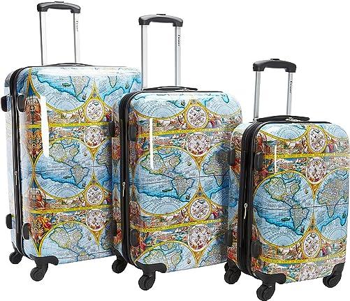 Chariot Orbis Terrarum Atlas 3-piece Hardside Tsa Lock Spinner Luggage Set-Color Map, One Size