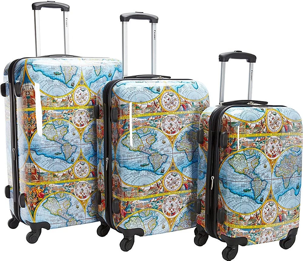 Chariot Atlas 3-pc Hardside TSA Lock Upright Spinner Luggage Set-Color Map