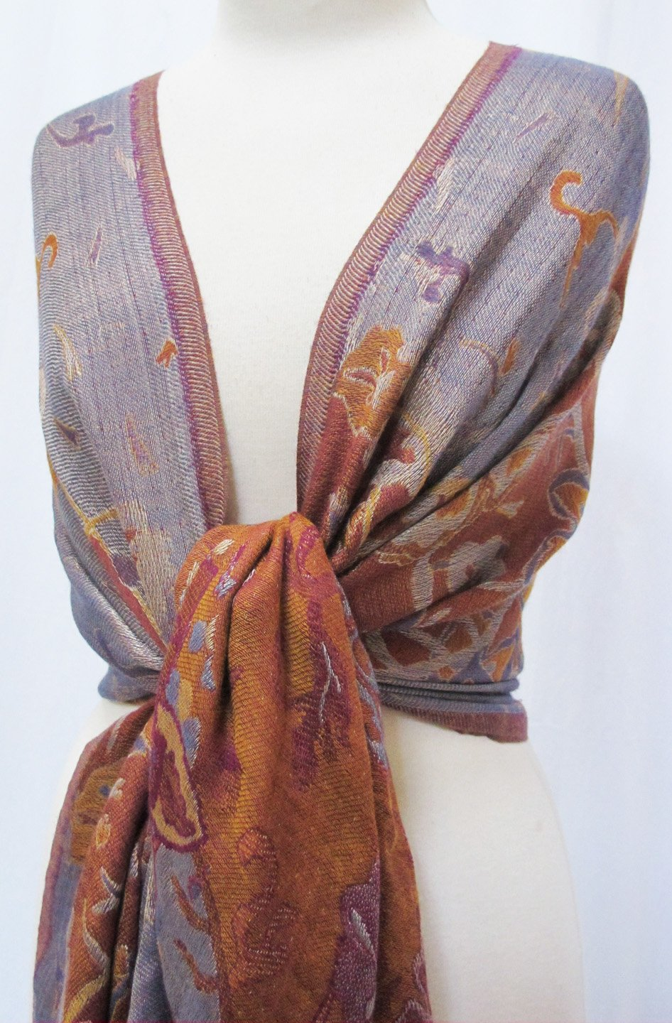 ''Misty Floral'' Silk Merino Wool Shawl Stole Scarf Wrap Purple Copper by Ashiana (Image #3)