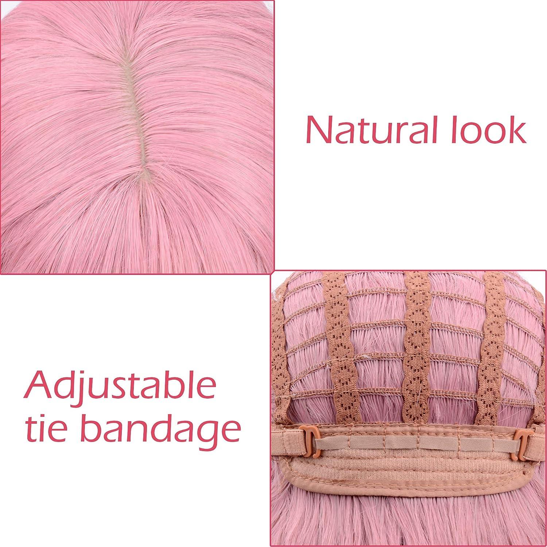 12'' Short Bob Pink Wig, Pastel Wavy Wig Cosplay Wig With Air Bangs - Pink