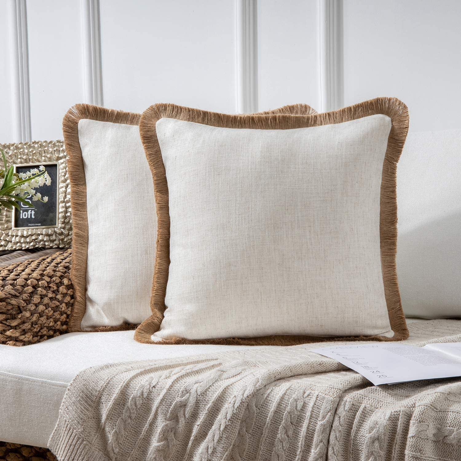 Phantoscope Pack of 2 Farmhouse Decorative Throw Pillow Covers Linen Tassel Trimmed Fall Outdoor Pillow Decor, Off White, 18 x 18 inches, 45 x 45 cm
