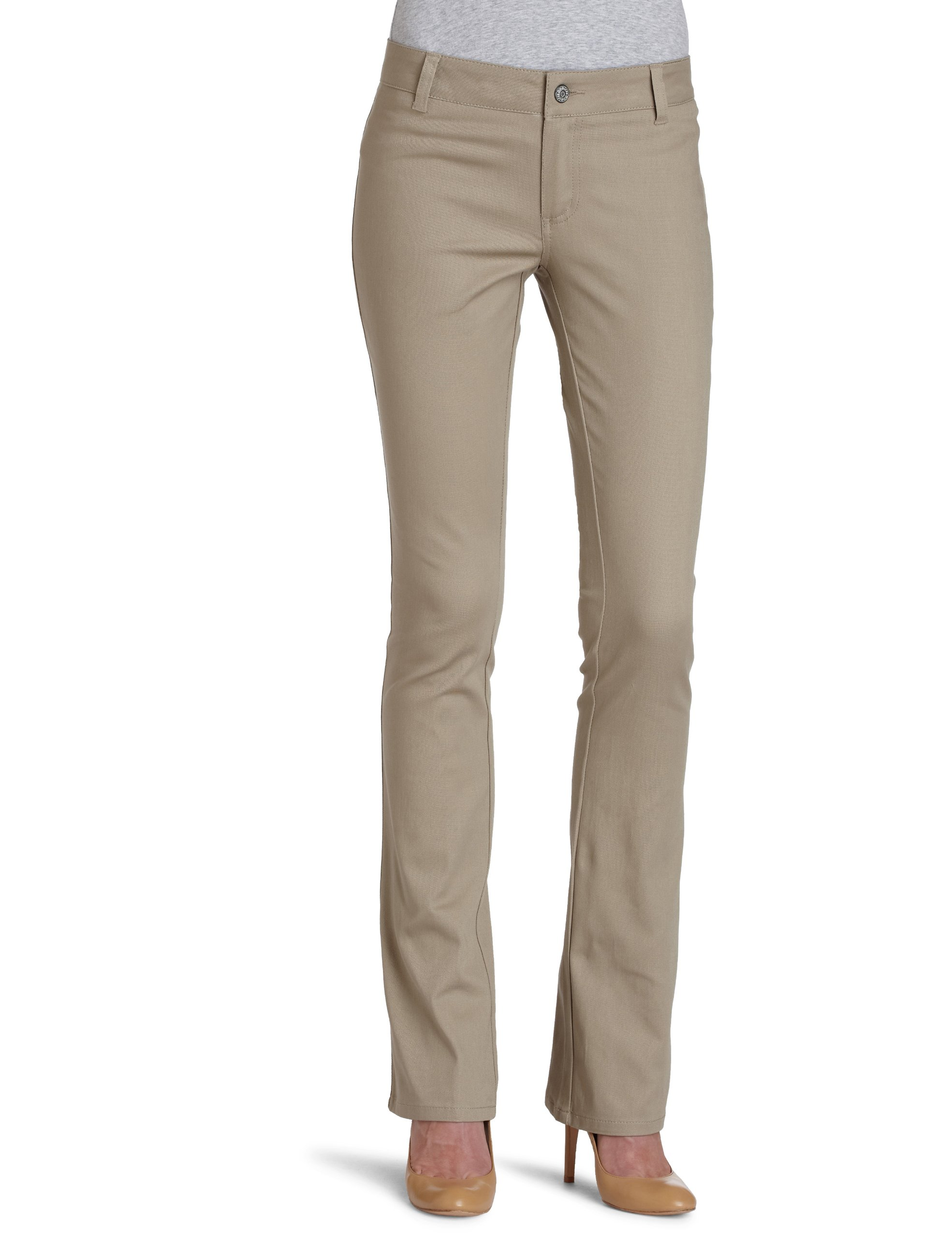 Dickies Girl Junior's Dealer No Pocket Straight Leg Pant,Khaki,3