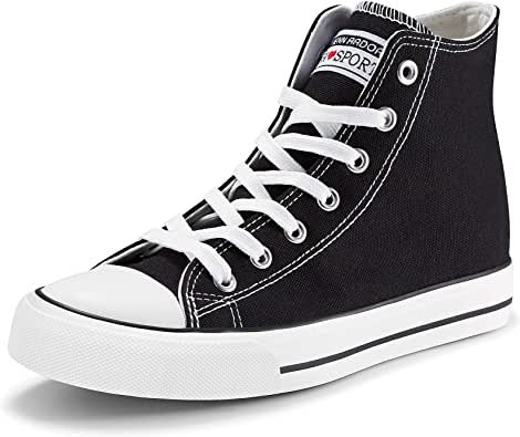 JENN ARDOR Women's Fashion Sneakers Canvas Shoes High Top Lace-up Classic Casual Flat Walking Shoes