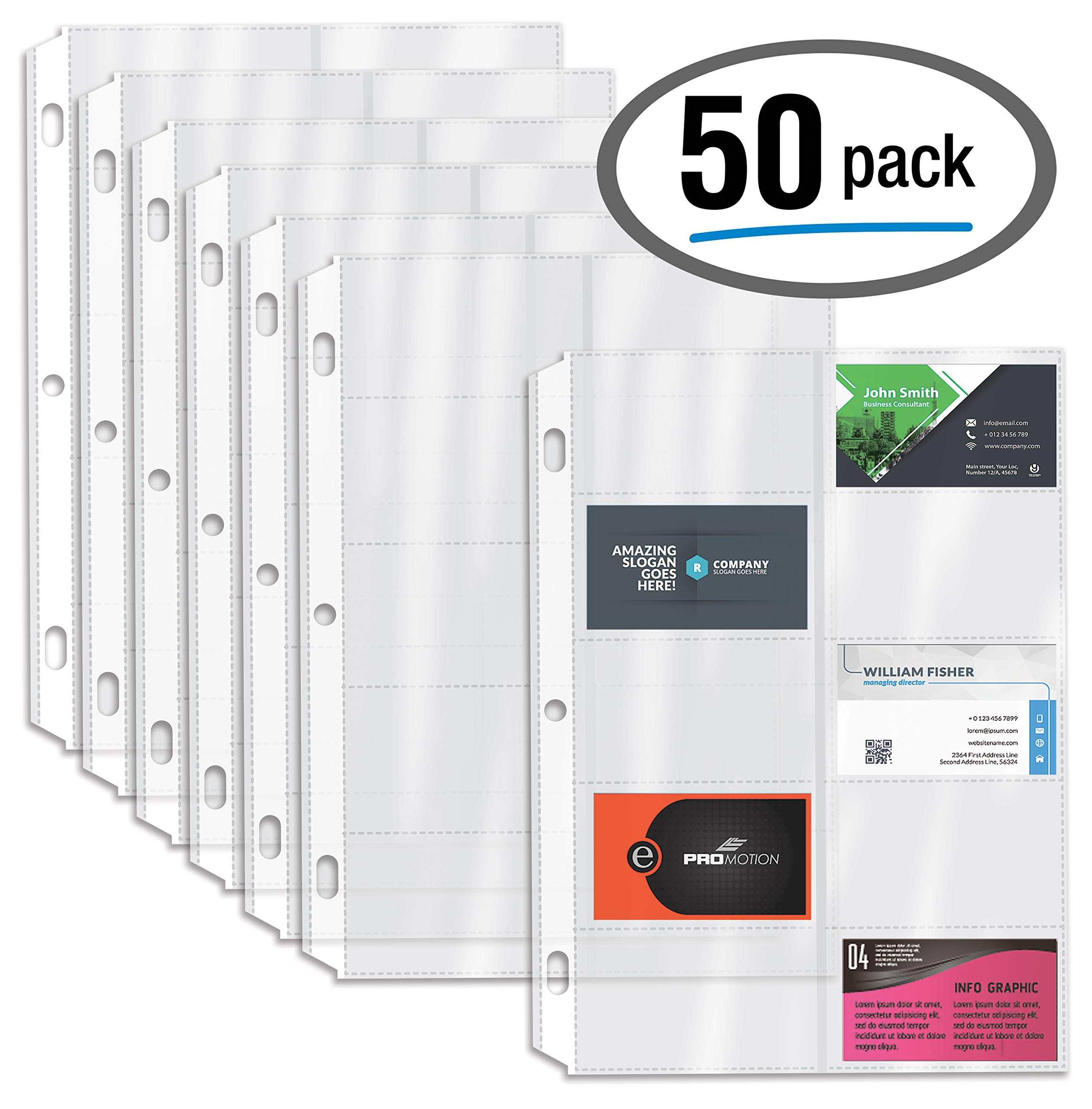 50/Box Clear Heavyweight Business Card Sleeve Pages, Refill Pages, 10 Pockets Per Sheet, 3 Ring Business Card Binder Sheets, by Better Office Products, 50 Count by Better Office Products