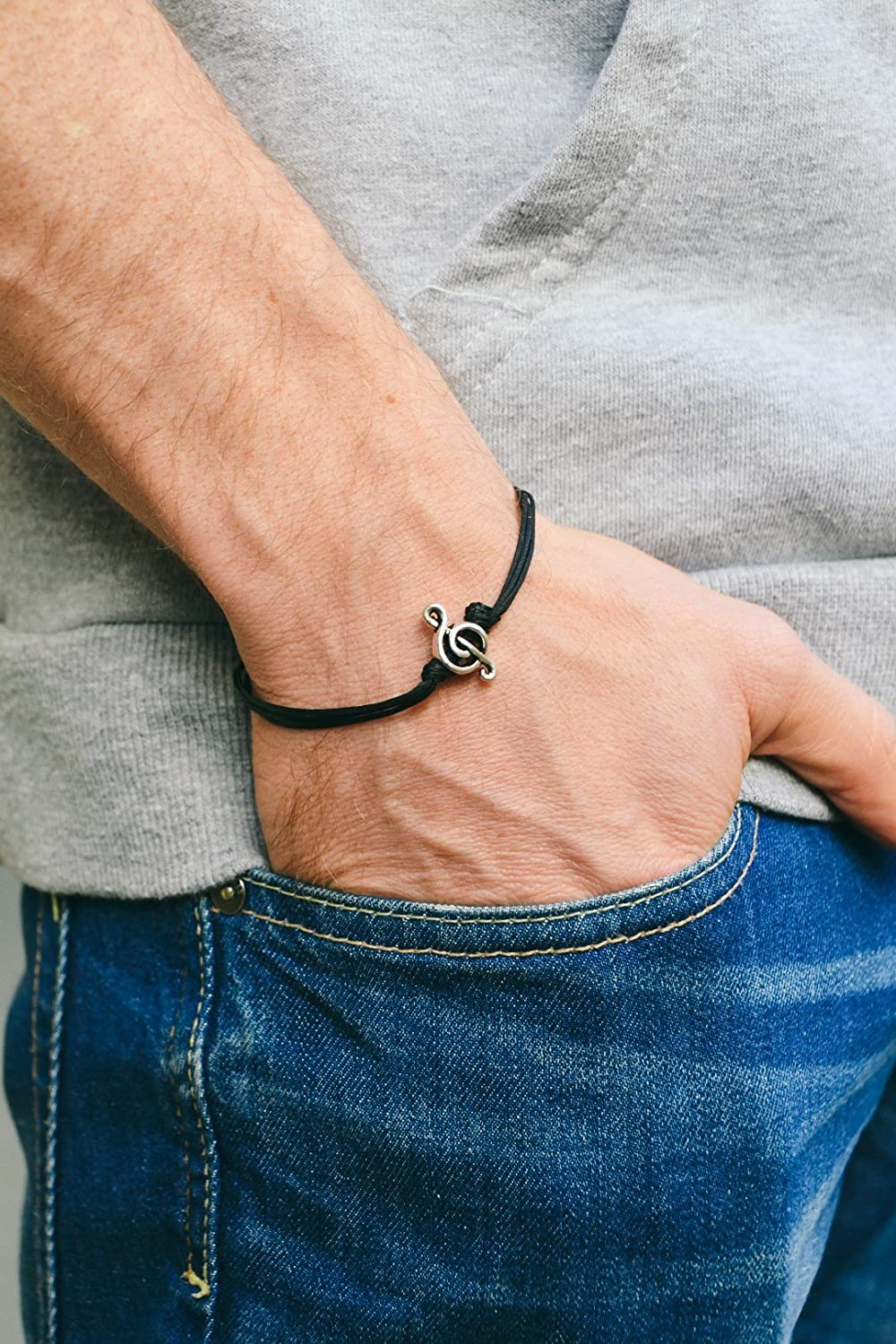 Treble clef bracelet for men, men's bracelet, silver music note charm, black cords, gift for him, musician bracelet, g clef, mens jewelry men' s bracelet