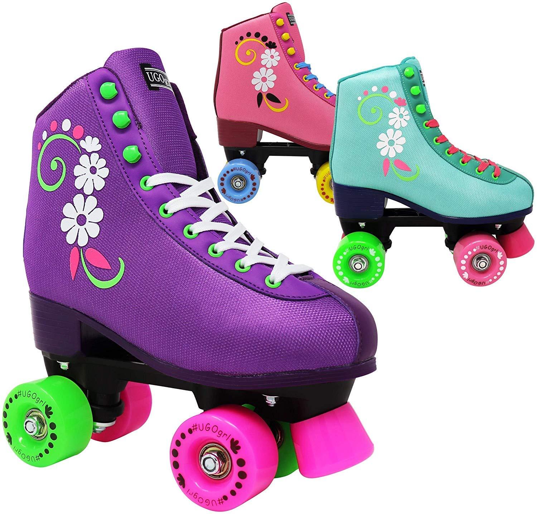 uGOgrl 女の子用ハイプローラースケート 子供用 クワッドローラースケート 屋内/屋外スケート用 快適 高品質 楽しくかわいい (花付きピンク) B077XLMYVS J12|ピンク ピンク J12