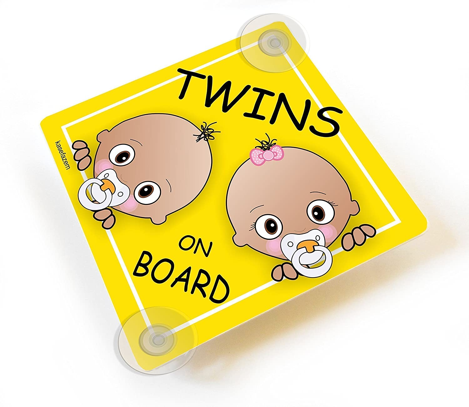 Personalizable Twins on Board Car Sign with Suction Cups, Baby Girl and Baby Boy Yellow Car Sign