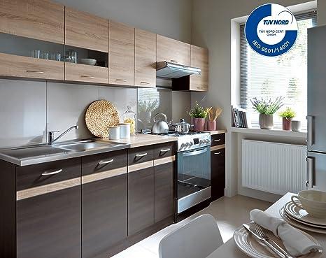 Küche 240cm von FIWODO® - ERWEITERBAR - günstig + schnell - Einbauküche  Junona Line Set 240 - 4 Fronten wählbar (WENGE / SONOMA)
